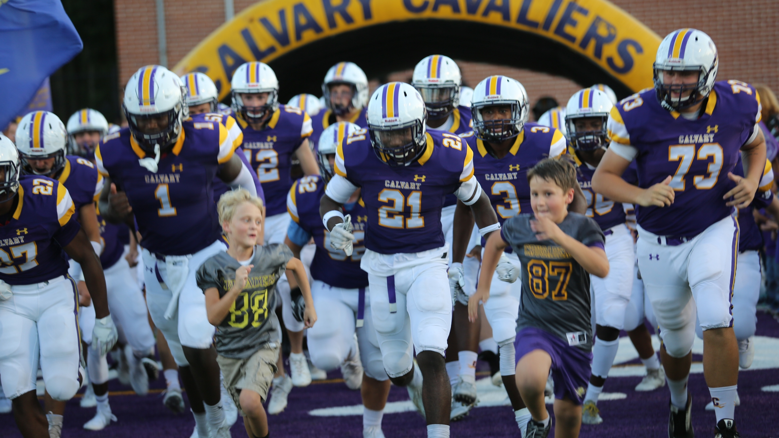 Calvary Day Cavaliers out of the tunnel