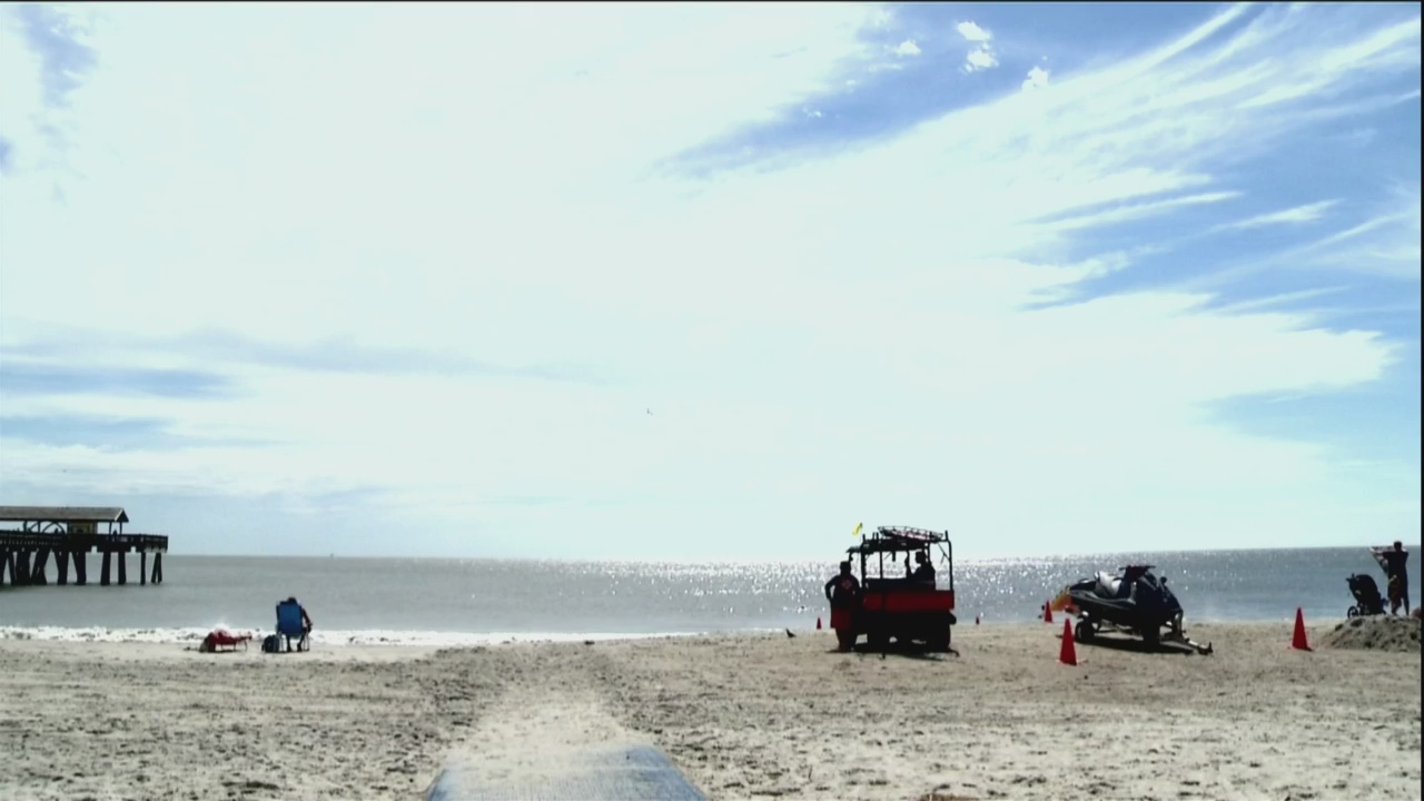 Calm weather on Tybee before storm cloud cover moves in