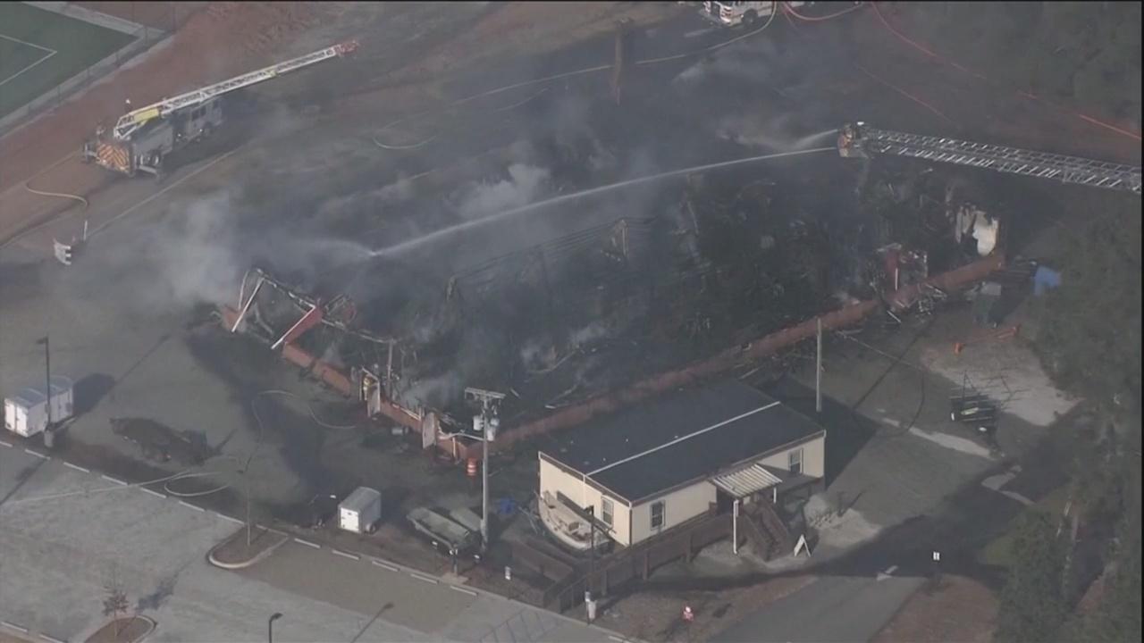 Fire destroys building on Clemson campus