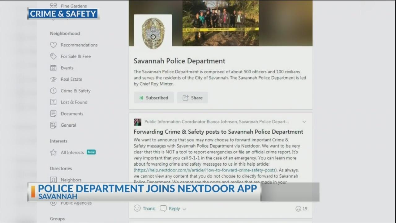 Savannah Police Department joins Nextdoor App