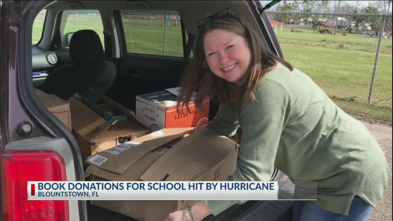 Hurricane-damaged school receives new books