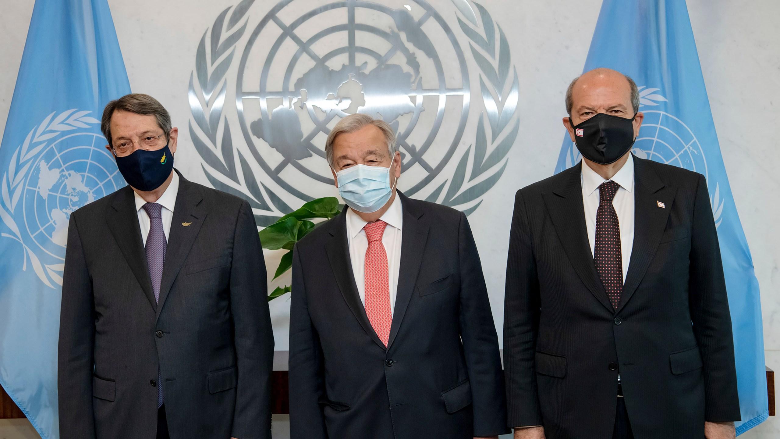 Antonio Guterres, Nicos Anastasiades, Ersin Tatar, Secretary-General Meets Greek Cypriot and Turkish Cypriot Leaders, new york
